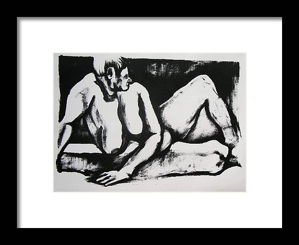 Nude Framed Print featuring the drawing Air Conditioned Stomach by Brad Wilson