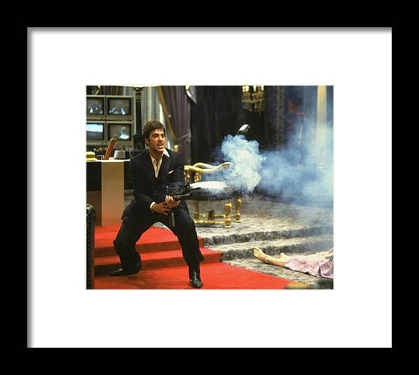 Al Pacino As Tony Montana With Machine Gun Blasting His Fellow Bad