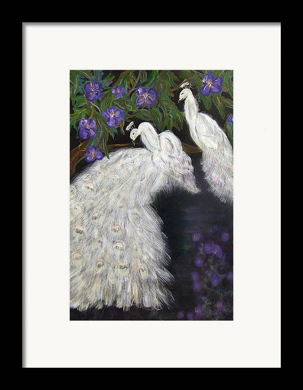 Peacocks Framed Print featuring the painting Albino Peacocks by Mikki Alhart