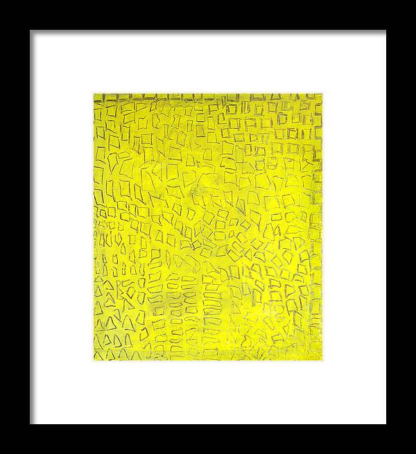 Abstract Golden City Yellow Signs Texts Hieroglyfs Alexander The Great Framed Print featuring the painting Alexandria by Joan De Bot
