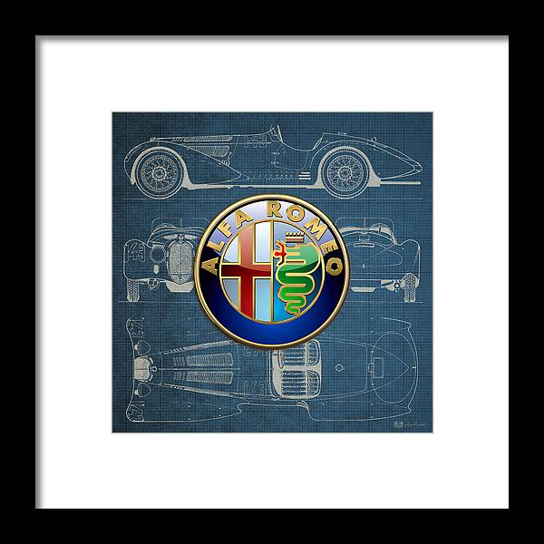 �wheels Of Fortune� By Serge Averbukh Framed Print featuring the photograph Alfa Romeo 3 D Badge Over 1938 Alfa Romeo 8 C 2900 B Vintage Blueprint by Serge Averbukh