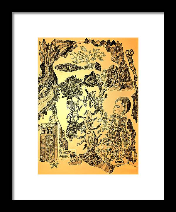 Drawing Framed Print featuring the drawing Ancient Dreams by Eric Devan