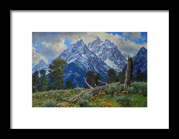 Framed Print featuring the painting Ancient Guardians by Lanny Grant
