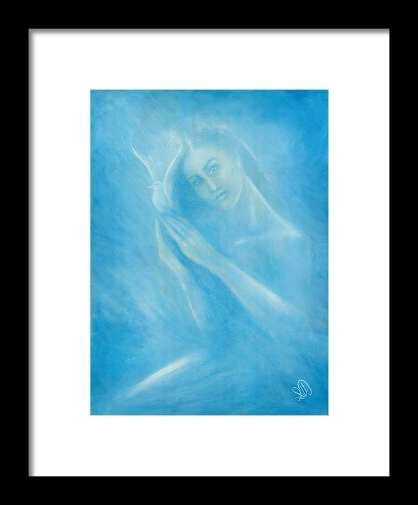 Love Framed Print featuring the painting Angel With Dove by Elizabeth Silk