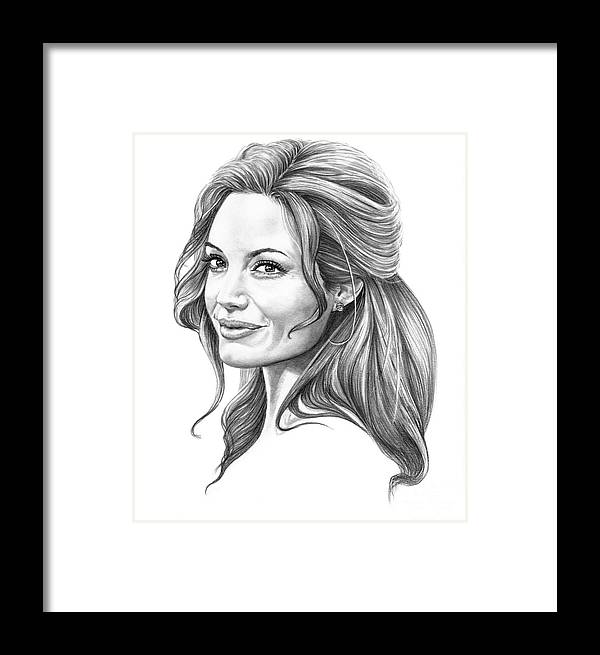 Drawing Framed Print featuring the drawing Angelina Jolie by Murphy Elliott
