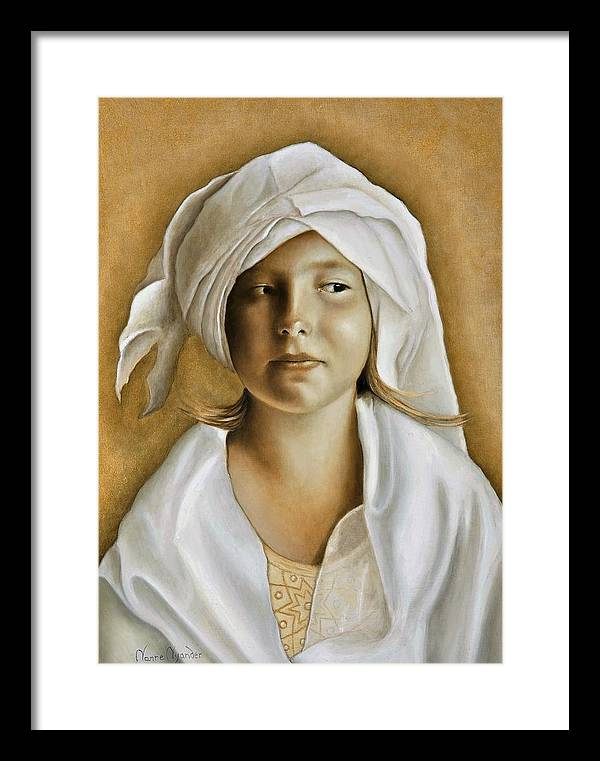 Portrait Framed Print featuring the painting Angelinn by Nanne Nyander