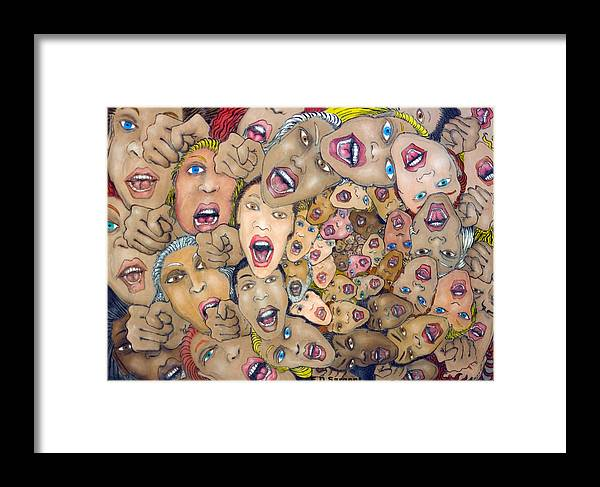 Faces Framed Print featuring the painting Angst Vortex by Eddie Sargent
