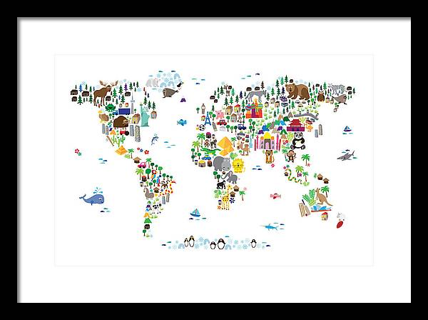 Animal map of the world for children and kids framed print by map of the world framed print featuring the digital art animal map of the world for gumiabroncs Choice Image