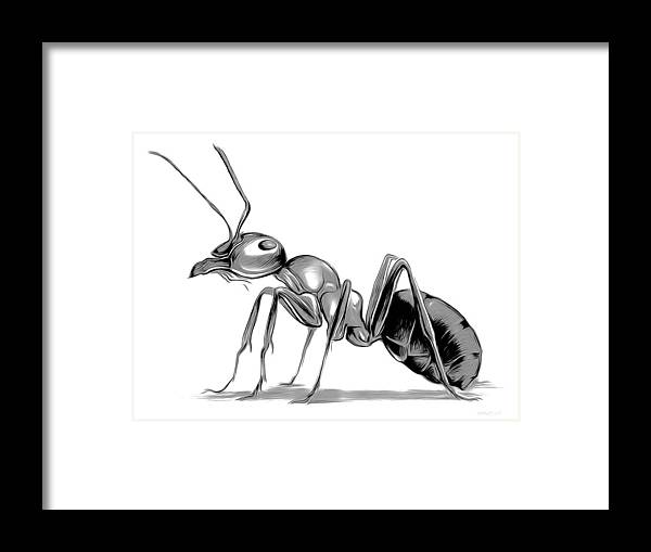 Ant Framed Print featuring the digital art Ant by Greg Joens