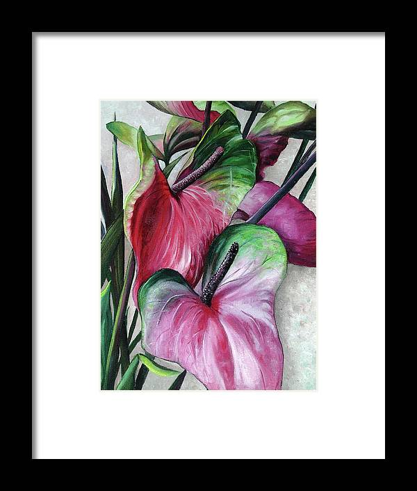 Pink Lilies Framed Print featuring the painting Anthuriums by Karin Dawn Kelshall- Best