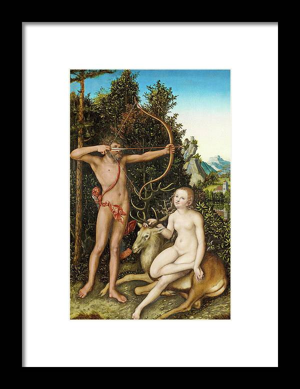 Diana Framed Print featuring the painting Apollo And Diana by Lucas Cranach the Elder