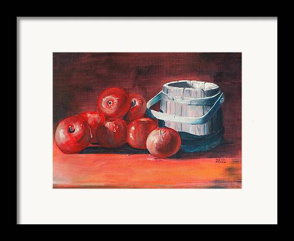 Apple Framed Print featuring the painting Apples - N - Wodden Basket by Sylvia Stone