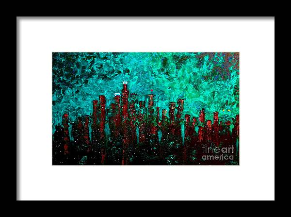 Cityscapes Framed Print featuring the painting Aquatic Angel by Chris Haugen