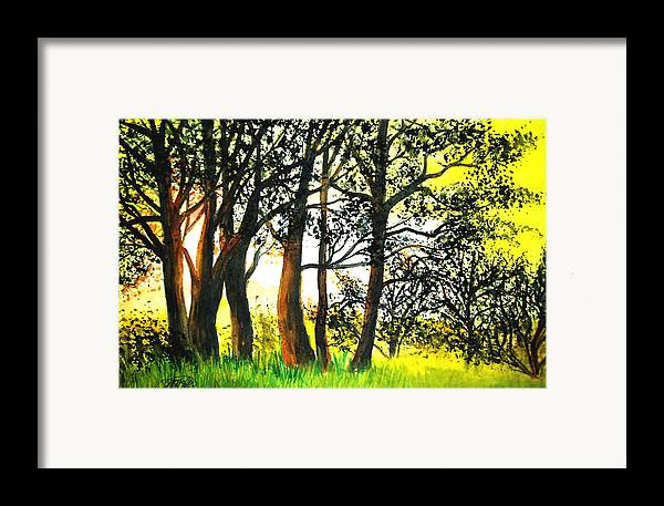 Landscape Framed Print featuring the painting Arbutus by Vivian Mosley