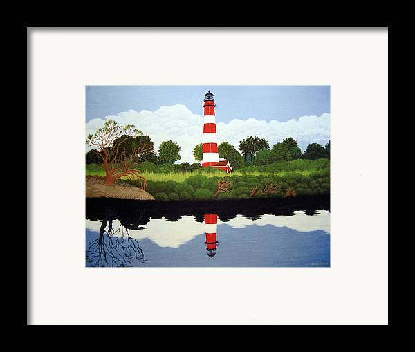 Fine Art Lighthouse Paintings Framed Print featuring the painting Assateague Island Lighthouse by Frederic Kohli