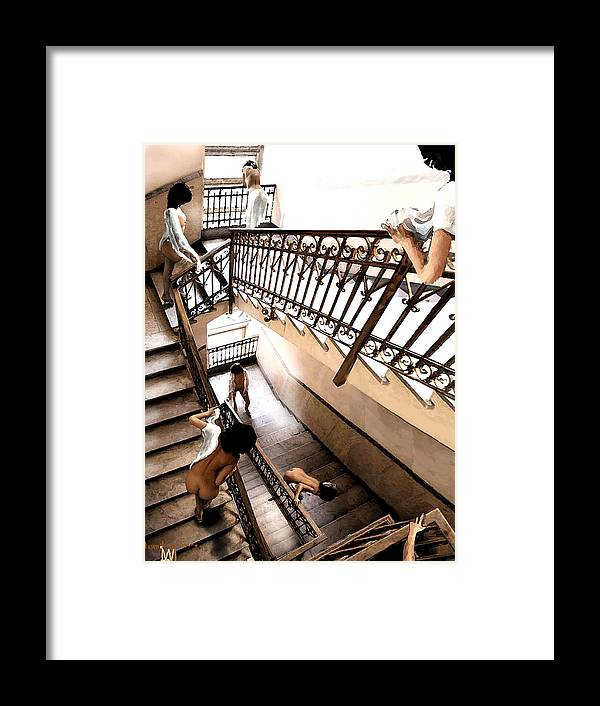 Multible Views Assending Stairs In An Old Building. Framed Print featuring the digital art Assending Firure by Leo Malboeuf