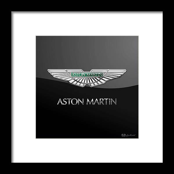 'wheels Of Fortune� Collection By Serge Averbukh Framed Print featuring the photograph Aston Martin 3 D Badge On Black by Serge Averbukh