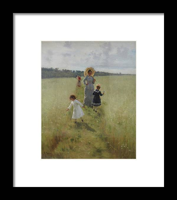 Ilya Repin Framed Print featuring the painting At the Boundary by Ilya Repin