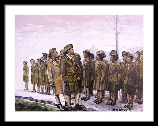 Military; Women Military; Soldiers; Ww2; Army; Women Soldiers; Framed Print featuring the painting Attention by Howard Stroman