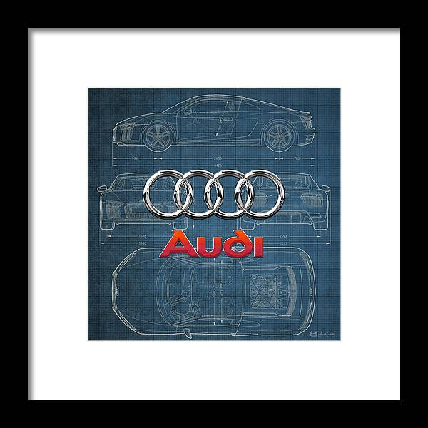 �wheels Of Fortune� Collection By Serge Averbukh Framed Print featuring the photograph Audi 3 D Badge over 2016 Audi R 8 Blueprint by Serge Averbukh