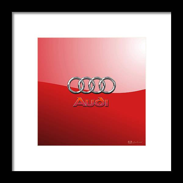 Wheels Of Fortune By Serge Averbukh Framed Print featuring the photograph Audi - 3D Badge on Red by Serge Averbukh