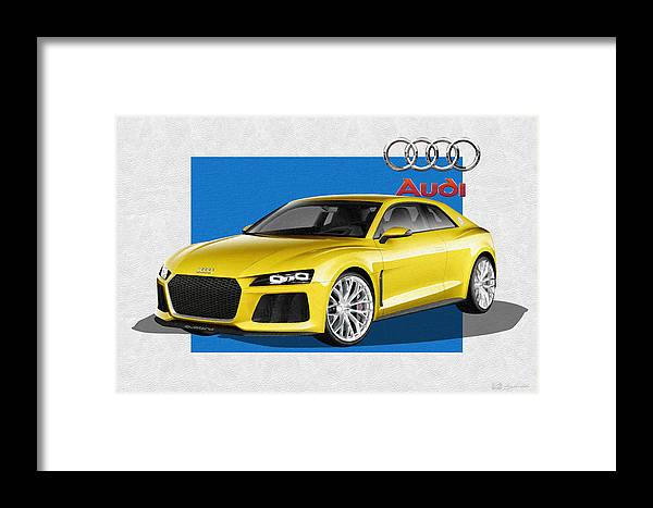 �audi� Collection By Serge Averbukh Framed Print featuring the photograph Audi Sport Quattro Concept With 3 D Badge 1 by Serge Averbukh