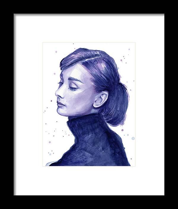 Watercolor Framed Print featuring the painting Audrey Hepburn Portrait by Olga Shvartsur