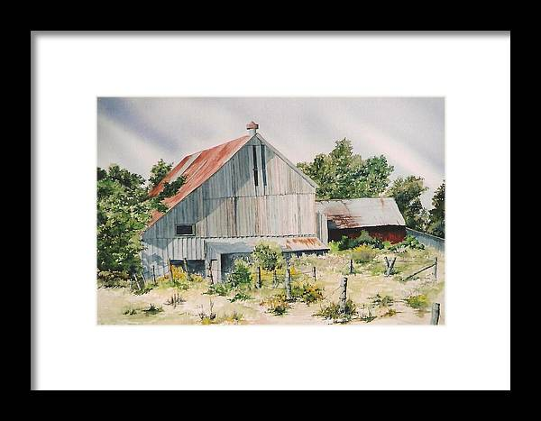 Barn Framed Print featuring the painting August 2nd by Jackie Mueller-Jones