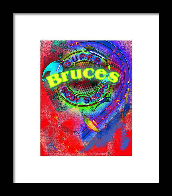 Neon Sign Framed Print featuring the photograph Auto Body Shop Neon Sign by Suzanne Powers