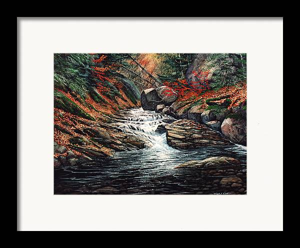 Landscape Framed Print featuring the painting Autumn Brook by Frank Wilson
