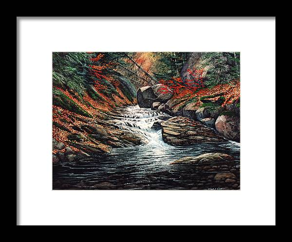 Autumn Brook Framed Print featuring the painting Autumn Brook by Frank Wilson