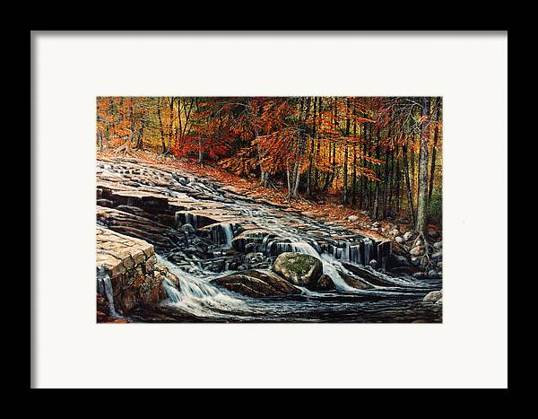 Landscape Framed Print featuring the painting Autumn Cascade by Frank Wilson