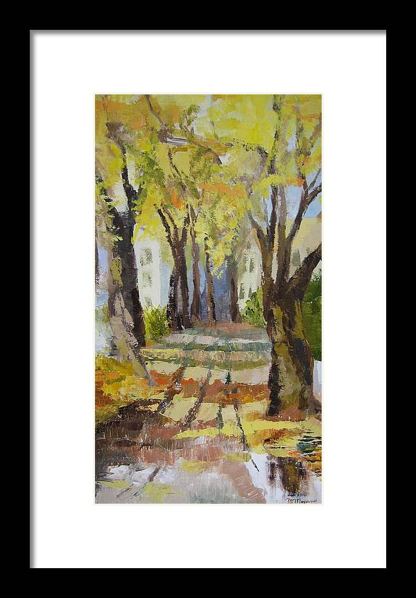 Landscape Framed Print featuring the painting Autumn Street by Mabel Moyano