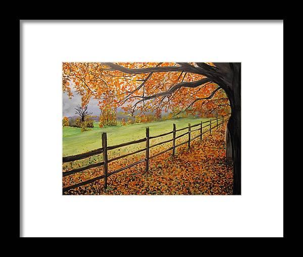 Va Framed Print featuring the painting Autumn Vista Virginia by Sharon De Vore