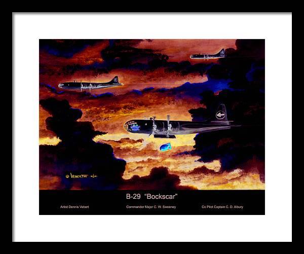 B-29 Bomber Framed Print featuring the painting B-29 Bockscar by Dennis Vebert