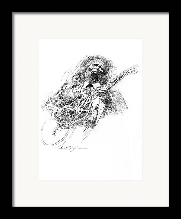 B B King Framed Print featuring the drawing B B King And Lucille by David Lloyd Glover
