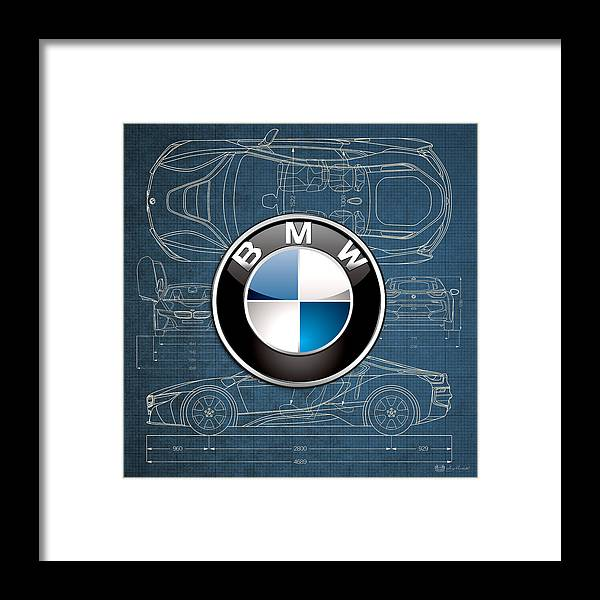 �wheels Of Fortune� By Serge Averbukh Framed Print featuring the photograph B M W 3 D Badge over B M W i8 Blueprint by Serge Averbukh