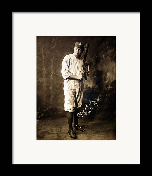 1920s Framed Print featuring the photograph Babe Ruth, 1920 by Everett