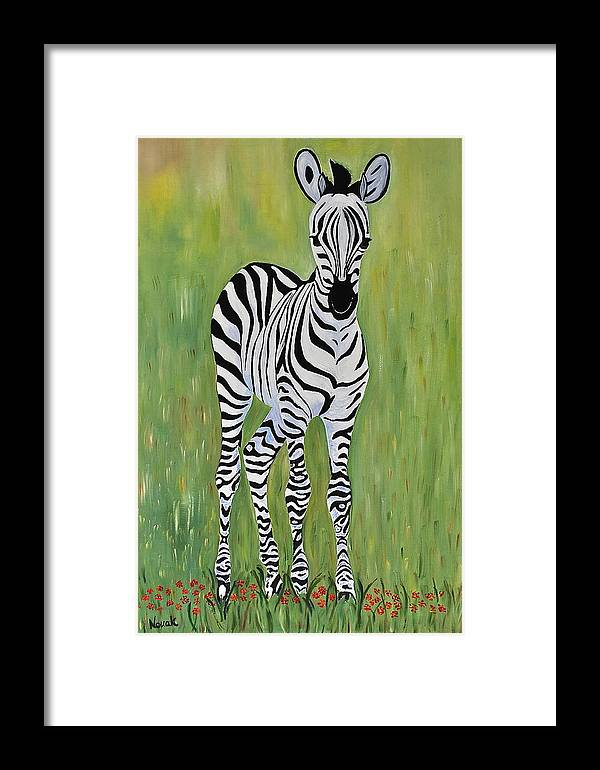 Wild Animal Framed Print featuring the painting Baby Zebra by Dorota Nowak