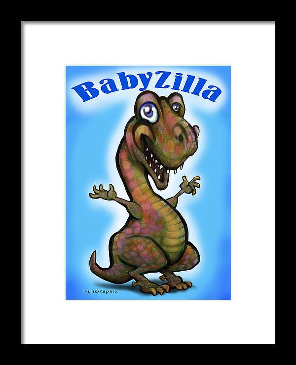 Babyzilla Framed Print featuring the greeting card Babyzilla by Kevin Middleton
