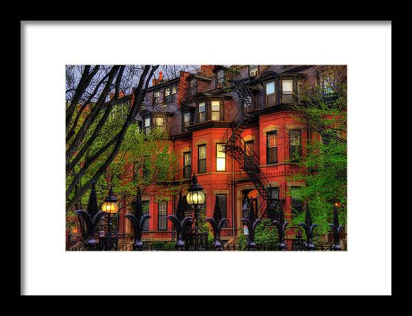 Boston Framed Print featuring the photograph Back Bay Boston Brownstones In Spring by Joann Vitali