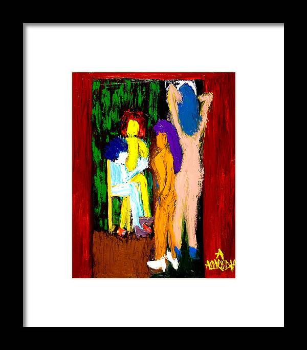 Women Framed Print featuring the painting Backstage Drama by Albert Almondia