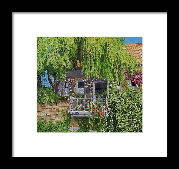 Rural Framed Print featuring the mixed media Balcony With Flowers by Constance Drescher