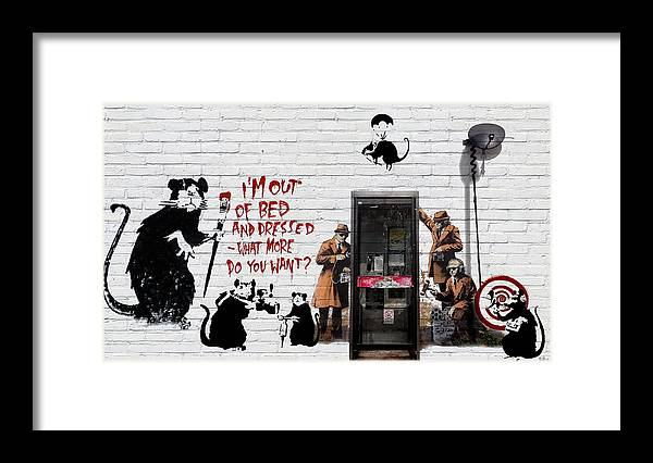 �urban Graffiti� Collection By Serge Averbukh Framed Print featuring the photograph Banksy - The Tribute - Rats by Serge Averbukh