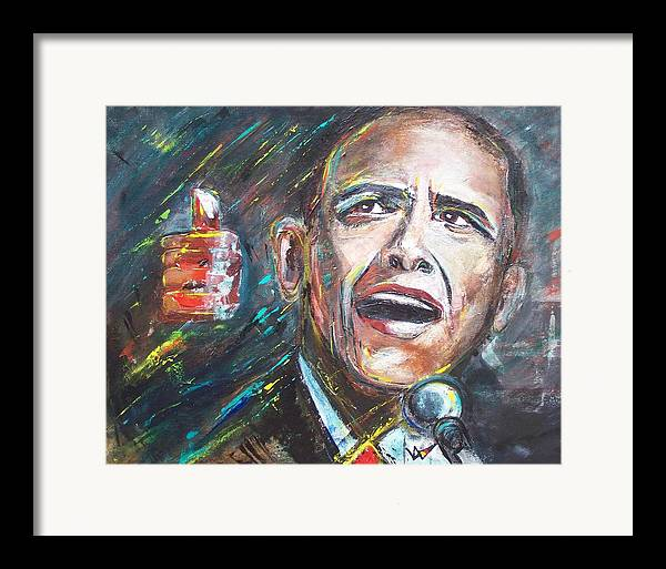 Barack Framed Print featuring the painting Barack Obama by Valerie Wolf