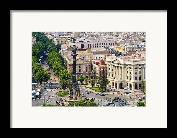 Day Framed Print featuring the photograph Barcelona With Tree-lined Las Ramblas by Annie Griffiths