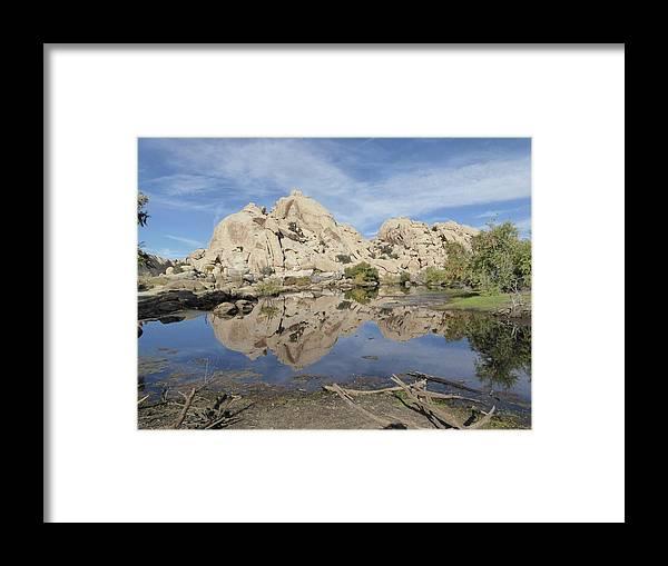 Desert Framed Print featuring the photograph Barker Dam by Barbara Prestridge