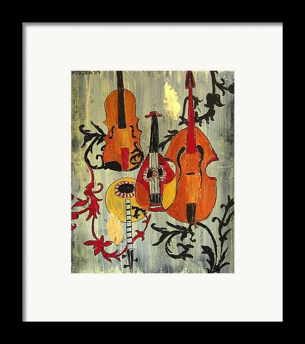 Music Framed Print featuring the painting Baroque 1 by Aliza Souleyeva-Alexander