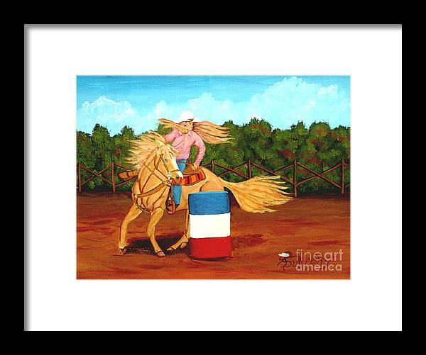 Rodeo Framed Print featuring the painting Barrel Racer by Anthony Dunphy