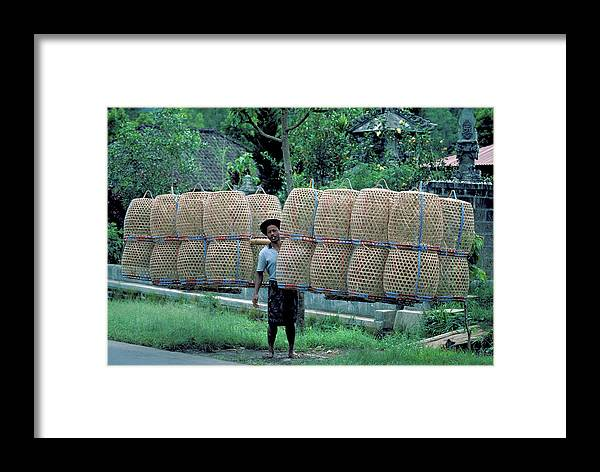 Man Framed Print featuring the photograph Basket Carrier In Bali by Carl Purcell